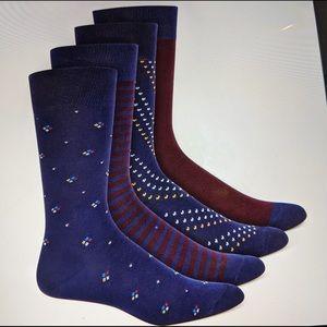 ALFANI Socks 4 Pair Men's Navy Burgundy NEW 7-12
